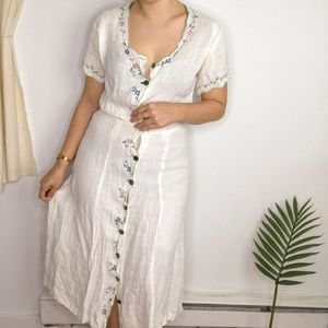 Vintage Embroidered Linen Button Front Midi Duster